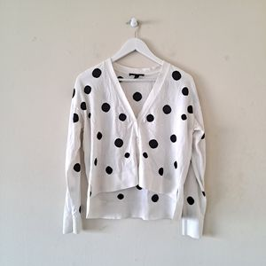 Ann Taylor White & Black Polka Dot V-neck Cardigan